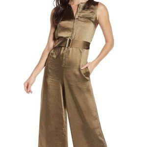 Caara Lowe Hammered Satin Utility Jumpsuit XL NWT
